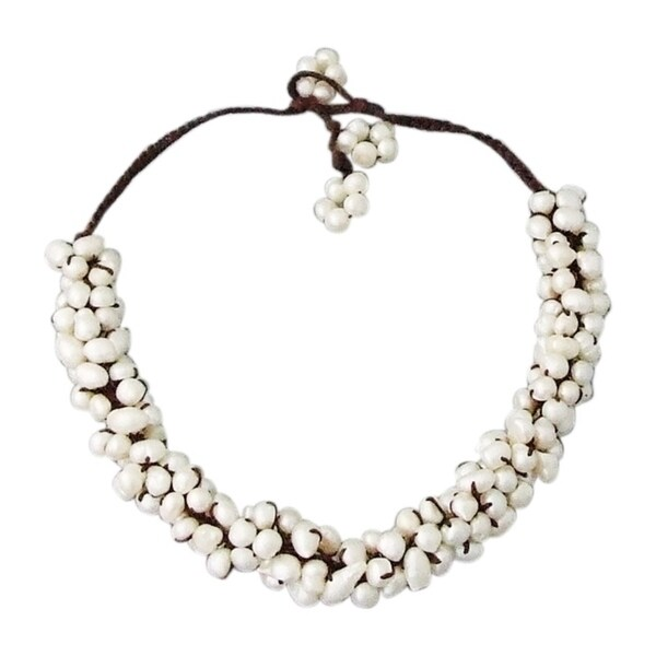 Handmade Cluster White Pearl Rope Necklace (Thailand)