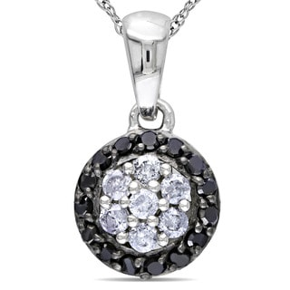 Miadora 10k White Gold 1/4ct TDW Black and White Diamond Necklace (G-H, I2-I3)