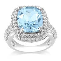Miadora Sterling Silver Blue Cushion-cut Topaz and Created White Sapphire Ring
