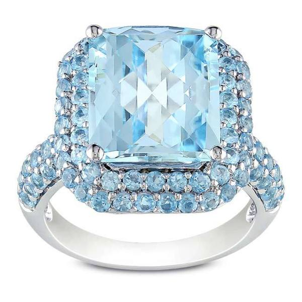 Miadora Sterling Silver Sky and Swiss Blue Topaz Ring