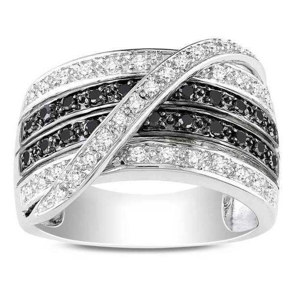 Miadora Sterling Silver 1/2ct TDW Black and White Diamond Ring (G-H, I3)