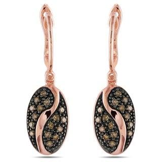 Miadora Pink Silver 1/3ct TDW Brown Diamond Earrings