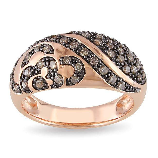 Miadora Pink Silver 1/2ct TDW Brown Diamond  Ring