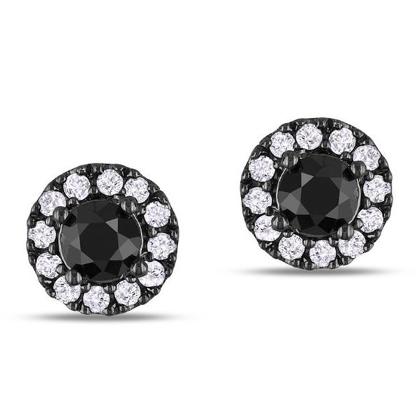 Miadora Sterling Silver 1ct TDW Black and White Diamond Halo Earrings