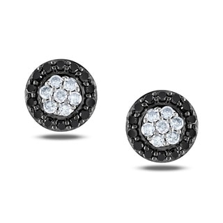Miadora Sterling Silver 1/4ct TDW Black and White Diamond Halo Earrings