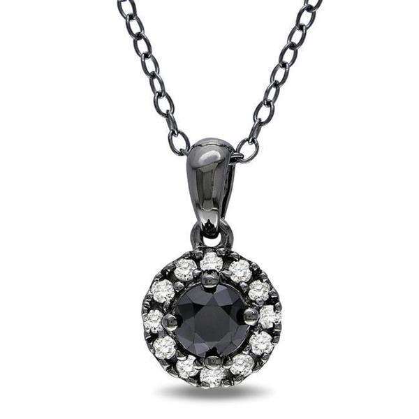 Miadora Sterling Silver 1/2ct TDW Black and White Diamond Necklace
