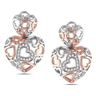 Miadora Sterling Silver 1/4ct TDW Diamond Heart Earrings