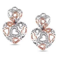 Miadora Sterling Silver 1/4ct TDW Diamond Heart Earrings