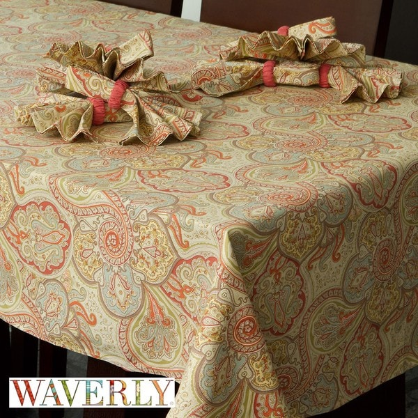 Waverly Paddcok Shawl Persimmon 17 Piece Tablecloth Set