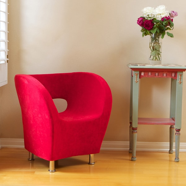 Modern Red Microfiber Accent Chair by Christopher Knight Home