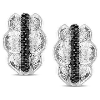Miadora Sterling Silver Black Spinel Hoop Earrings