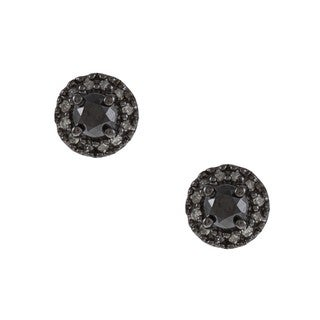 Miadora Sterling Silver 1/2ct TDW Black and White Diamond Halo Earrings