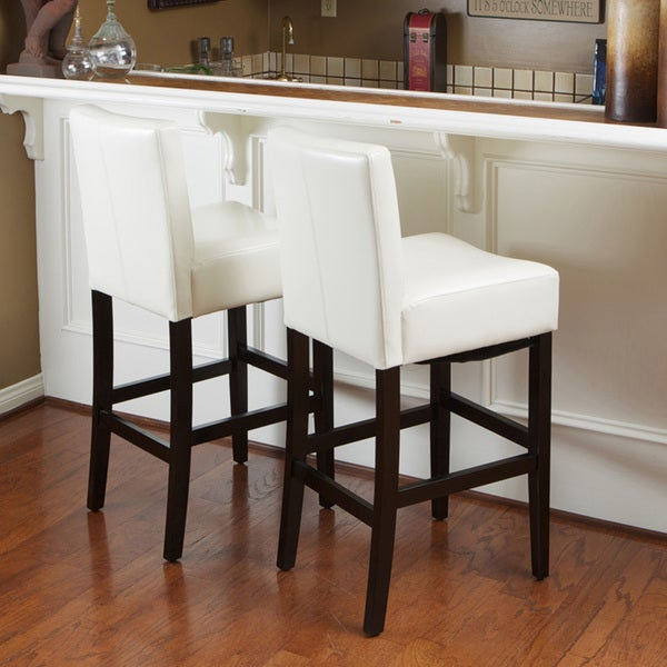 Lopez Ivory Wood/Leather Bar Stools (Set of 2) by Christopher Knight Home