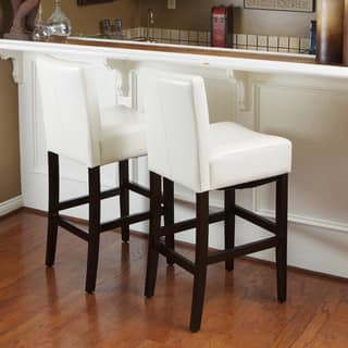 Lopez 30 Inch Ivory Wood Leather Bar Stools Set Of 2 By