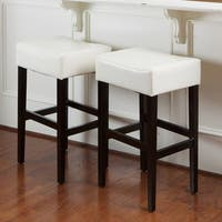 Lopez 30-inch Ivory Bonded Leather Backless Bar Stools (Set of 2) by Christopher Knight Home - N/A