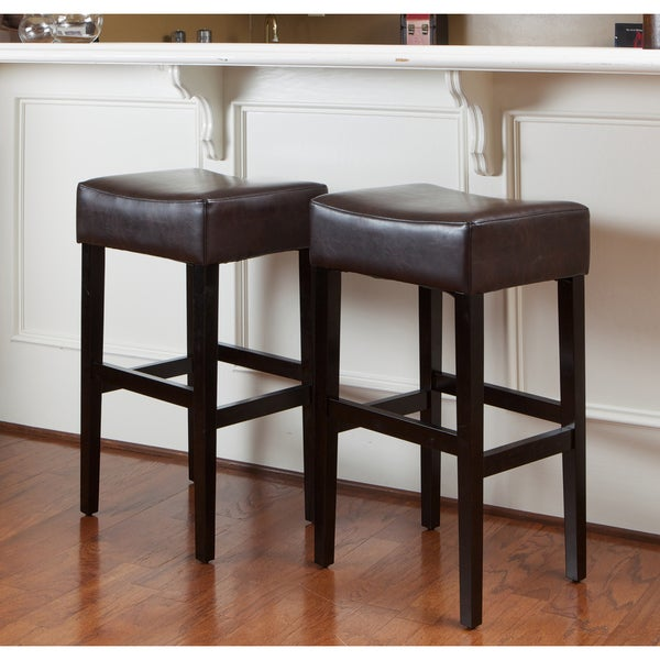 Shop Lopez 30 Inch Brown Leather Backless Bar Stools Set
