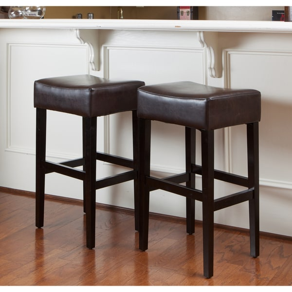 Counter Stools Overstock: Shop Lopez 30-inch Brown Leather Backless Bar Stools (Set