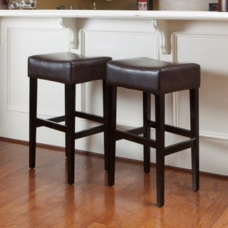 Lopez Brown Leather Backless Bar Stools (Set of 2) by Christopher Knight Home