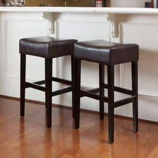 Lopez 30 Inch Brown Leather Backless Bar Stools Set Of 2 By Christopher