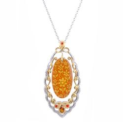 Michael Valitutti Two-tone Carved Amber and Fire Citrine Necklace