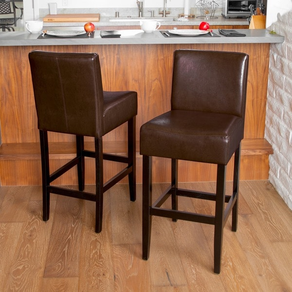 Lopez Brown Leather Bar Stools (Set of 2) by Christopher Knight Home