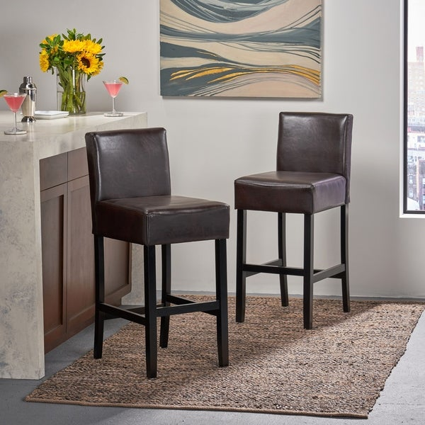 Lopez 30-inch Brown Leather Bar Stools by Christopher Knight Home (Set of 2). Opens flyout.