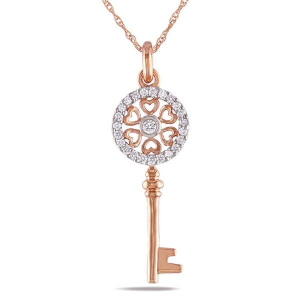Miadora 10k Pink Gold 1/6ct TDW Round Diamond Key Necklace (G-H, I2-I3)