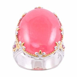 Michael Valitutti Two-tone Rhodochrosite and Ruby Ring