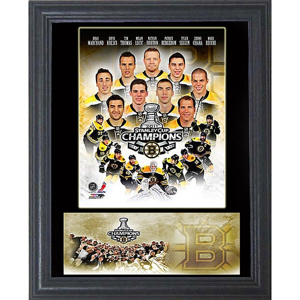 """2011 Stanley Cup Champion Boston Bruins 11""""x14"""" Wood/Glass Cachet Frame"""