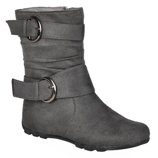 Journee Kids Girls' Katty Buckle Accent Mid-calf Boots