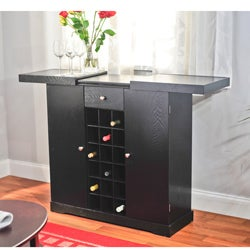 Simple Living Black Wine Storage Cabinet - Thumbnail 1