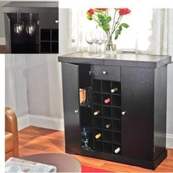 Simple Living Black Wine Storage Cabinet - Thumbnail 2