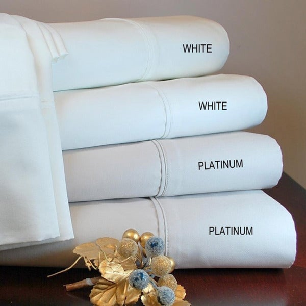 Superior Cotton Sateen Solid 600 Thread Count Queen / King-size Sheet Set