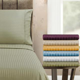 Superior 400 Thread Count Stripe Cotton Sateen Pillowcase Set (Set of 2)