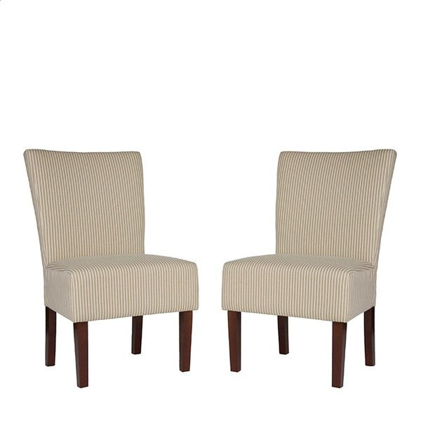 Portfolio Duet Emma Khaki Ivory Stripe Upholstered Chairs (Set of 2)