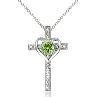 Glitzy Rocks Sterling Silver Gemstone and Diamond Accent Cross Necklace
