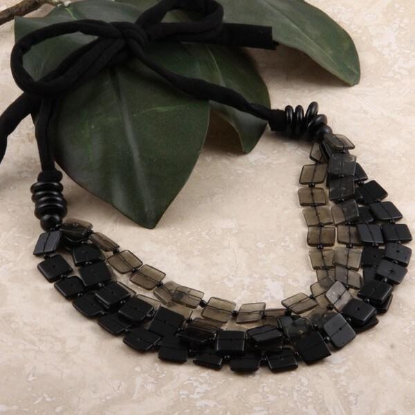 Glass Translucent Square Bead Necklace (India)
