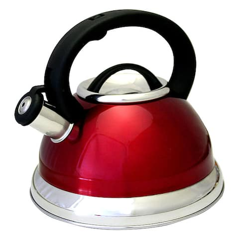Prime Pacific Red Stainless Steel 3-quart Whistling Tea Kettle