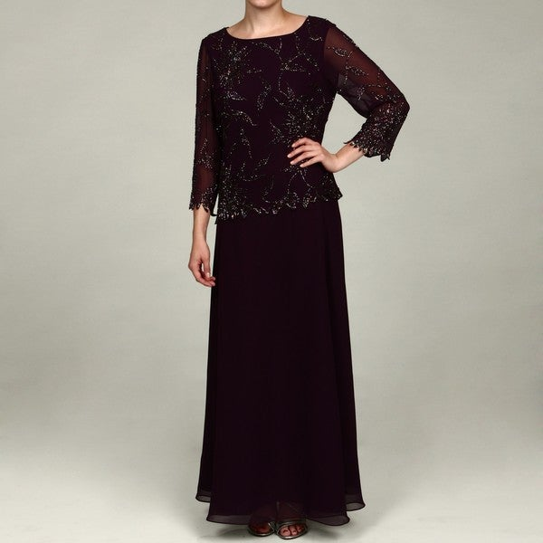 J. Laxmi Women's Plum Sequin Dress