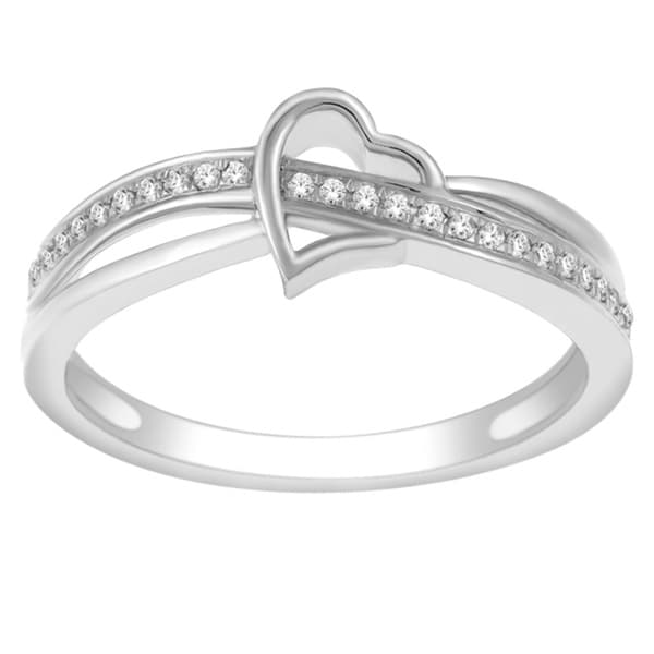 De Couer 10k White Gold 1/10ct TDW Diamond Heart Promise Ring