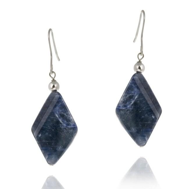Glitzy Rocks Sterling Silver Sodalite Dangle Earrings