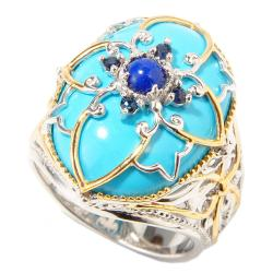 Michael Valitutti Two-tone Turquoise, Blue Jade and Sapphire Ring