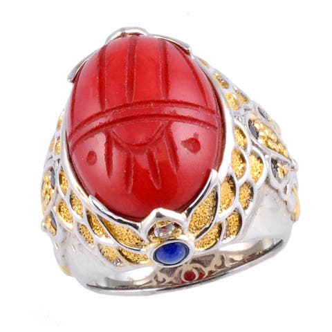 Michael Valitutti Two-tone Red Jade, Lapis and Sapphire Ring