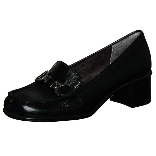 Aerosoles Women's 'Pepper Mill' Black Patent Leather Heeled Loafers