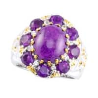 Michael Valitutti Two-tone Purple Jade, Amethyst and White Sapphire Ring