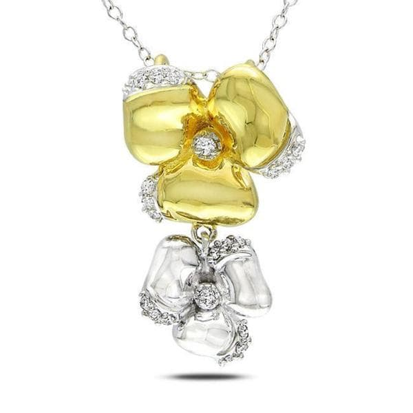 Sterling Silver 1/5ct TDW Diamond Flower Necklace