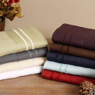 Fashion Street Microfiber Embroidered 4-piece Sheet Set (More options available)