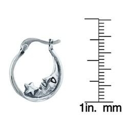 Silvermoon Sterling Silver Moon and Star Hoop Earrings