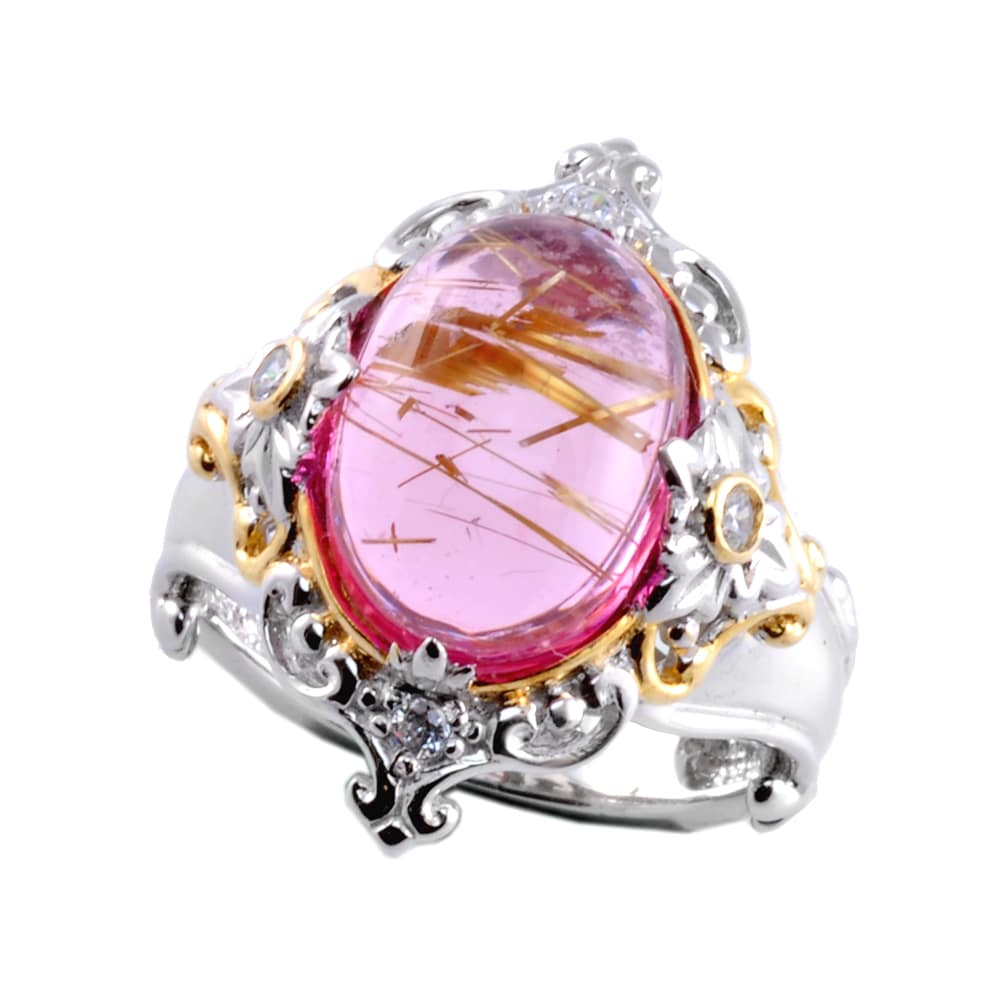 Michael Valitutti Twotone Pink Rutilated Quartz And White Sapphire Ring