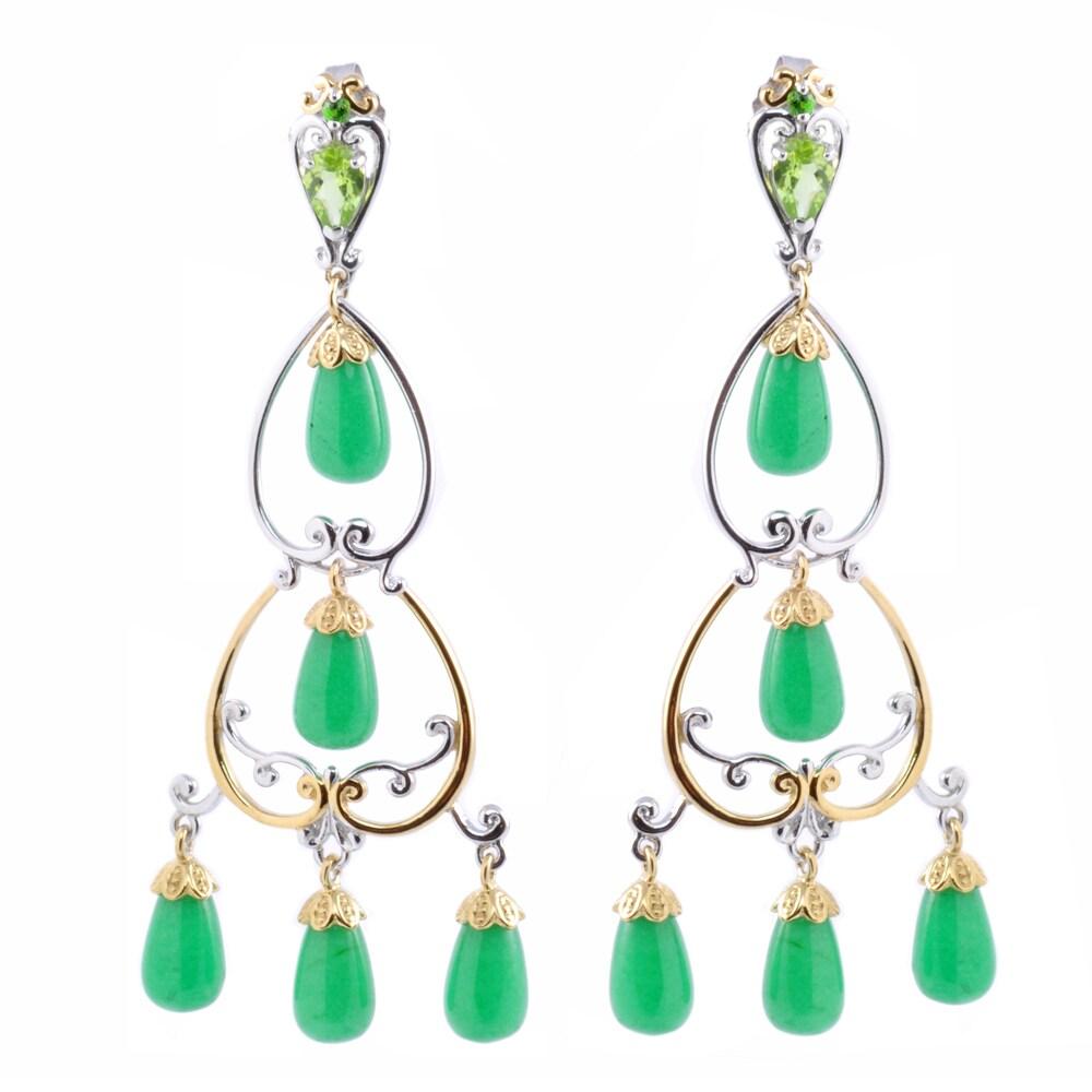 Michael Valitutti Two-tone Green Jade, Peridot and Chrome Diopside Earrings